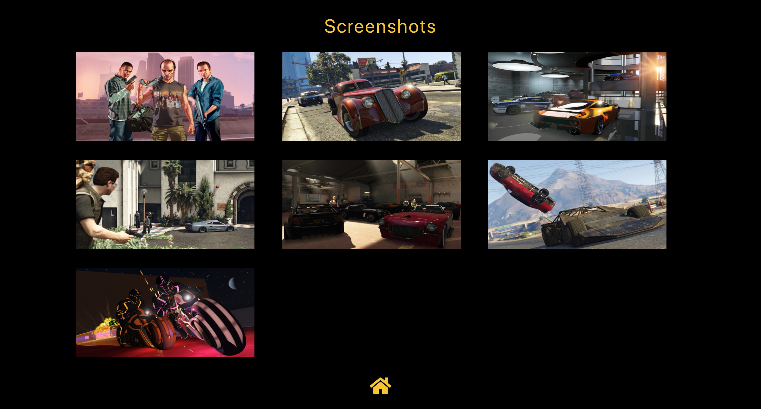 Display of the screenshots of a game